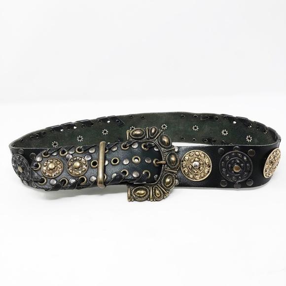 Vintage Accessories - Vintage Black Leather Boho Gypsy Metal Waist Belt